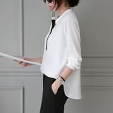 2016春装新款白衬衫女长袖韩范中长款学院风宽松休闲雪纺衬衣上衣