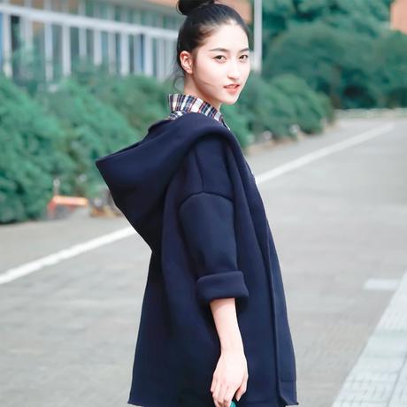 日森系文艺复古欧美简约宽松一粒扣学院学生棉针织秋