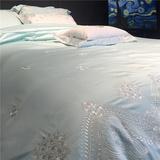 美式高档全棉床上用品四件套长绒棉奢华80支纯色匹马棉银丝刺绣