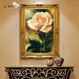 油画客厅卧室挂画餐厅欧式现代简约壁画玄关装饰画花卉写实玫瑰花