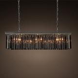 美式铁艺奢华创意长方形吊灯北欧客厅餐厅别墅个性欧式k9水晶吊灯