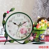 欧式台钟静音座钟复古田园客厅摆件台式小坐钟创意铁艺钟表