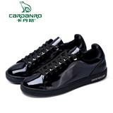 卡丹路2016新款单鞋女 韩版真皮金属色镜面时尚休闲鞋运动鞋黑色