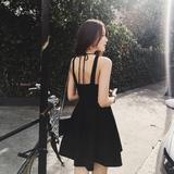 2016夏季吊带背心性感露背高腰修身小黑裙无袖收腰显瘦气质连衣裙