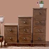 地中海美式复古做旧收纳柜实木带锁床头柜包邮储物小柜子新款特价