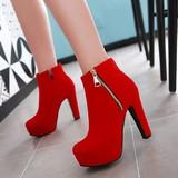 冬季短筒女鞋红色结婚鞋性感超高跟短靴婚礼红鞋新娘鞋中式敬酒鞋