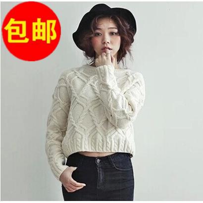 包邮2014韩版秋装新款加厚圆领长袖套头麻花短款毛衣