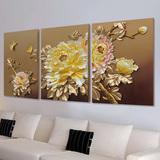 沙发背景墙立体装饰画客厅无框壁画三联树脂挂画现代浮雕画金牡丹