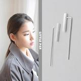 韩国通体S925纯银极简约几何长方形拉丝方条耳环耳饰耳钩 防过敏