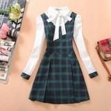 春秋新款初高中大学生少女装假两件可爱公主格子长袖连衣裙中裙子