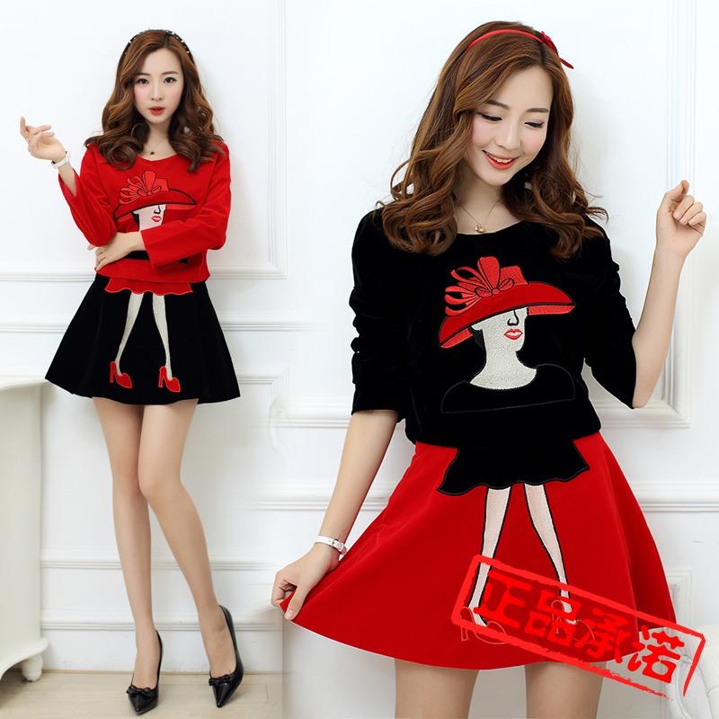 2014秋装新款韩版潮大码女装两件套连衣裙时尚法兰绒
