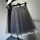 春夏女装韩国版复古网纱裙百搭松紧腰蓬蓬裙中长款裙子半身裙纱裙