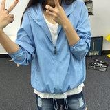 青少年韩版薄外套运动休闲春夏装中学生连帽防晒衣潮流学院风少女