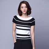 修身显瘦黑白条纹女T恤简约休闲短袖圆领针织衫夏季新款气质上衣