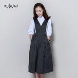 韩版时尚套装裙2016春装气质衬衫上衣中长款背带裙两件套连衣裙女