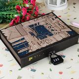 星空密码本复古带锁日记本盒装密码本笔记本子密码锁扣记事本包邮