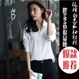 2016秋装OL工作服职业衬衫女大码韩范学院风个性长袖女士纯白衬衣