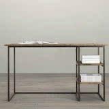 铁艺实木组合搭配隔板隔层书架书桌电脑桌长方形办公桌写字台桌子