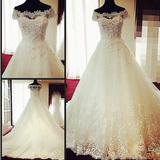 婚纱礼服2015新款韩式新娘一字肩白色长拖尾绑带修身显瘦奢华冬季