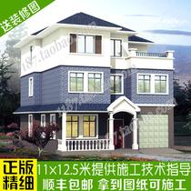 三层楼房带车库新农村房屋设计图纸及效果图带露台别墅自