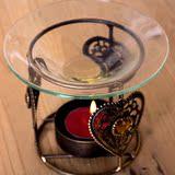 柔软时光 古典圆形精油盘熏香器 波西米亚古铜色宝石蜡烛台香薰炉