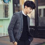 2016春季男士休闲西装韩版修身格子小西服男单西青少年男装外套潮