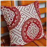 现代中式植绒加厚大红布艺抱枕套靠枕套靠垫套 不含芯40/45/50/60