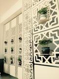 包邮现代简约客厅挂式折叠屏风镂空白色餐厅隔断玄关挂帘可定做
