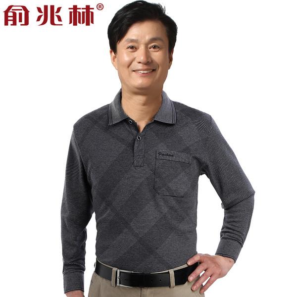 中年男士长袖t恤 俞兆林臻品棉质爸爸装秋装中老年