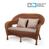 巴比伦阳台藤椅沙发户外仿藤沙发组合套件纯手工藤编双人长椅子
