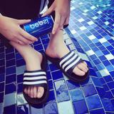 夏季韩版三条纹情侣凉拖鞋夏天防滑家居家浴室洗澡拖鞋男女地板拖
