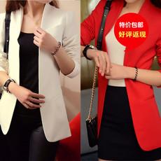 2013秋装韩版可爱气质新款修身小西装外套女装中长款小西服高清图片