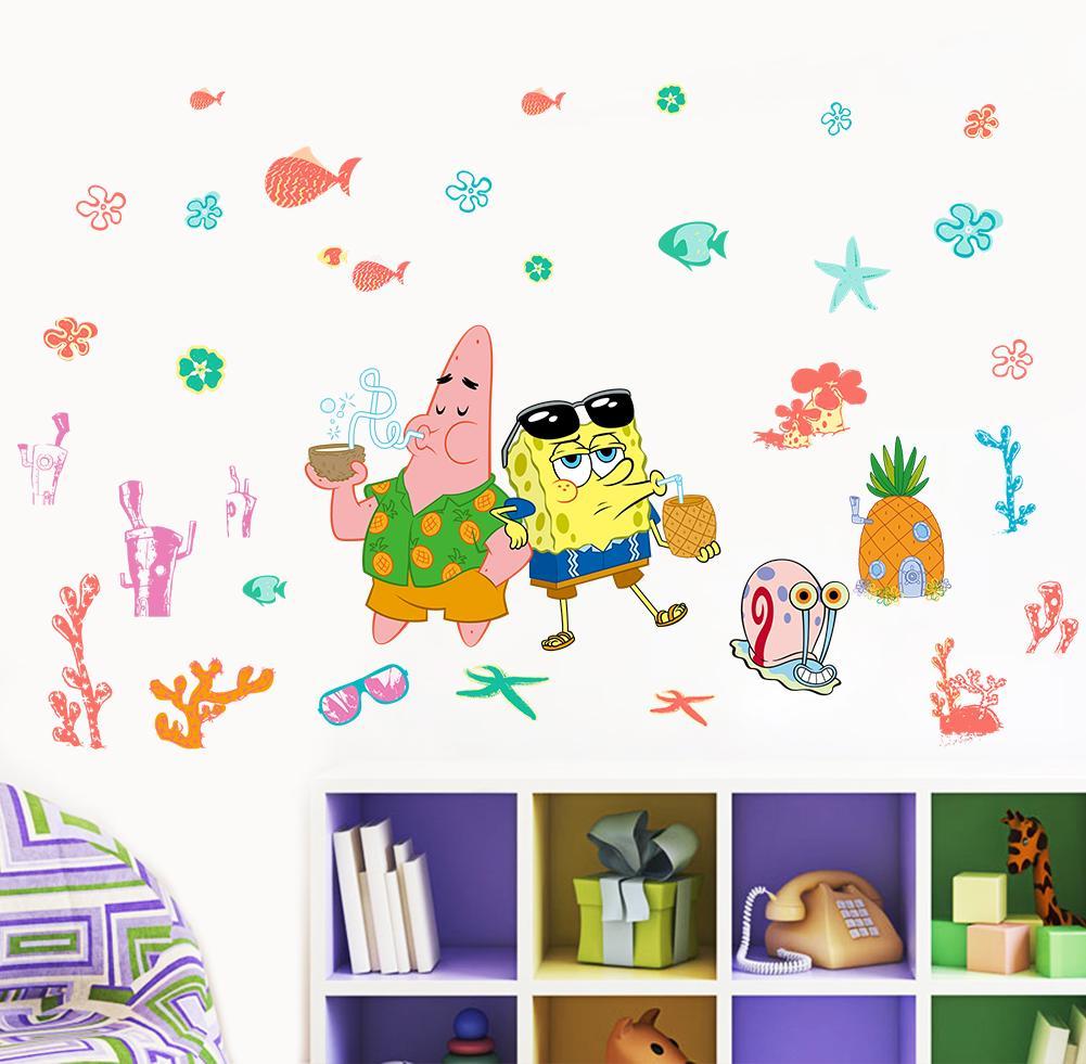 海绵宝宝墙贴儿童房卧室幼儿园卡通墙画自粘壁纸墙壁贴纸贴画