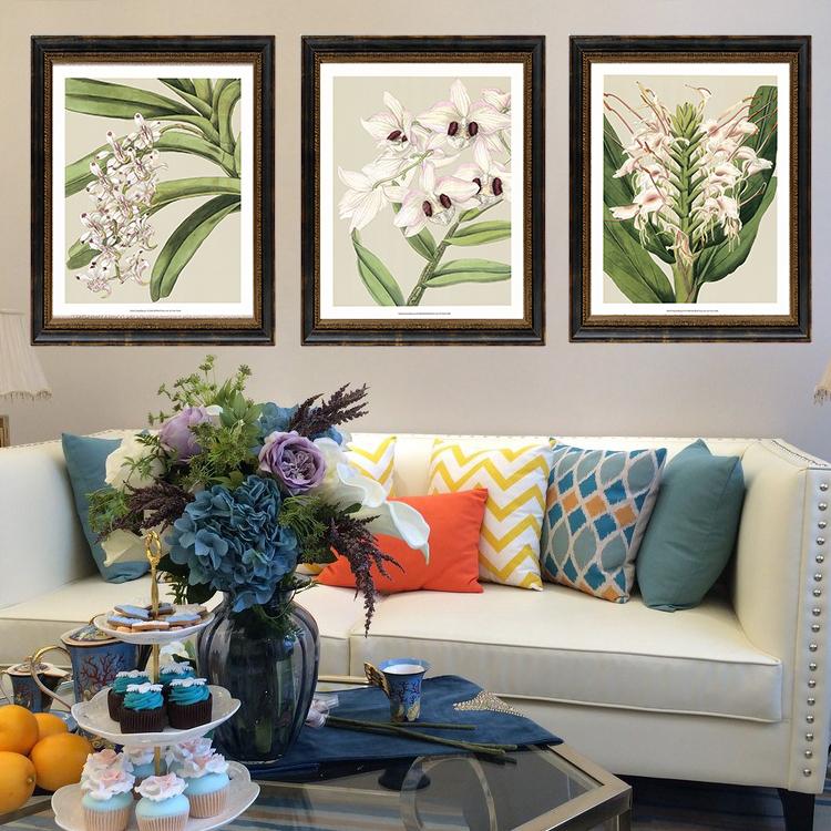 美式挂画餐厅花鸟图片