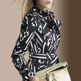 风衣女中长款双排扣黑色大码印花薄款2016春秋季新款长袖英伦外套