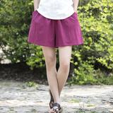 苏槿棉麻女装新品2016夏季森女简约文艺女式休闲裤短裤垮裤