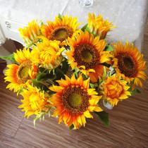 10枝包邮 绢花向日葵落地客厅装饰太阳摆放花卉仿真花假花