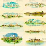 唯美水彩风欧式建筑房屋风景装饰插画图案 EPS矢量设计素材 9P