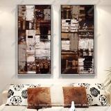 纯手绘有框画抽象色块油画欧美装饰风格壁挂画酒店高档大气装饰画