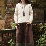 民族风2015冬装新款女装文艺中式盘扣亚麻厚棉衣女短款禅意女外套