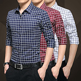 免烫春季青年男士衬衫长袖修身型四季格子休闲男子薄款衫衣加大码