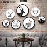 麋鹿北欧装饰组合画客厅现代简约黑白创意有框画餐厅简欧圆形挂画