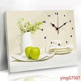 带钟表挂画餐厅水果装饰画单幅无框画厨房壁画卧室挂画客厅墙画