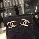 专柜正品代购香奈儿chanel 扭纹珍珠镶钻大双C耳钉/耳环 A63057