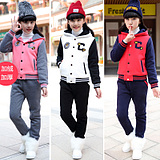 香港代购童装女童秋冬装大童韩版正品女装运动卫衣棒球服套装加绒
