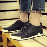 2016夏季新款男士休闲皮鞋青少年黑色板鞋潮鞋英伦复古厚底男鞋子