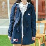 2015冬装新款森女系猫咪学院风中长款百搭加绒棉衣棉袄女学生外套