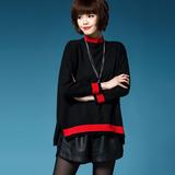 2016秋款女装立领针织衫套头毛衣女韩版外穿打底衫侧开叉百搭上衣