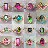 天然碧玺戒指18K金镶嵌红碧玺绿碧玺坦桑石钻石彩色宝石定制女款