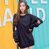 卫衣女春中长款套头宽松大码女装袖子个性镂空韩版学生潮显瘦外套